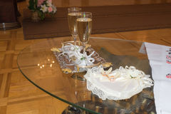 Table for wedding ceremony on-site caravans towel Royalty Free Stock Image