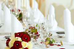 Table at a wedding feast Royalty Free Stock Images
