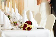Table at a wedding feast Stock Photos