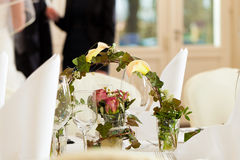 Table at a wedding feast Royalty Free Stock Photo