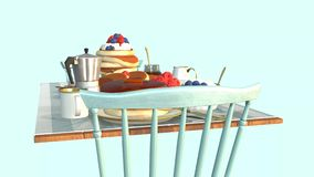 Table on which breakfast with pancakes and berries stock video