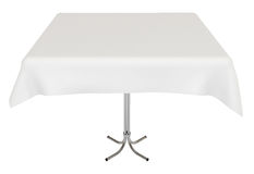 Table, white cloth, isolated, clipping path. Table with white cloth, isolated on white, clipping path included, 3d illustration Royalty Free Stock Photography