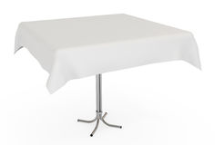 Table with white cloth, isolated, clipping path Stock Photo
