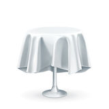 Table with white tablecloth Royalty Free Stock Image