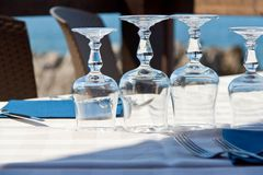 Table with wine glasses Stock Photography