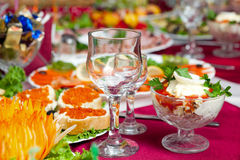 Table wine glasses Stock Images