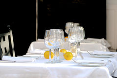 Table with Wine Glasses Stock Photo