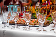 Table Wine Glasses For Wine Stock Photo