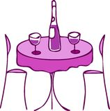 Table with wine and two chairs -romantic diner -2. Table with wine and two chairs -  romantic dinner ;  illustration Royalty Free Stock Photography