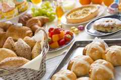 Free Table With Delicatessen Ready For Easter Brunch Stock Photo - 108874440