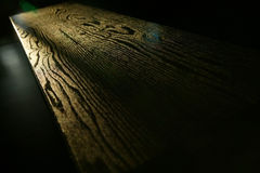 Table wood grain. In sunlight Royalty Free Stock Photo