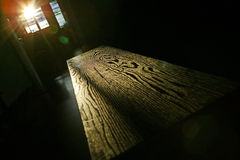 Table wood grain. In sunlight Stock Photography