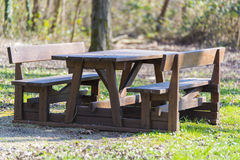Table and wooden benches at the park Stock Image
