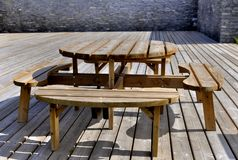A table  on wooden terrace Stock Image