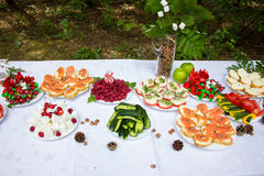 Table in the woods decorated to the birthday Royalty Free Stock Photo