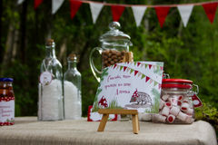 Table in the woods decorated to the birthday Royalty Free Stock Photography