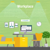 Table and work on the computer. Business, office , workplace yellow  green color. Flat design vector illustration. Stock Image