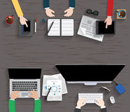 Table, Working, Businees, Meeting, High Angle View Royalty Free Stock Images