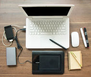 Table Workspace With Laptop And Equipment For Sync Stock Images