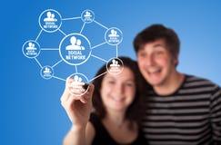 Tableau affichant le concept social de gestion de réseau Photos libres de droits