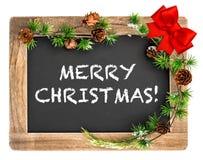 Tableau avec l'ornement de Noël Joyeux Noël Photo stock