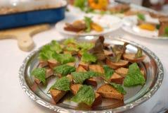 Tableau avec la nourriture Photo stock