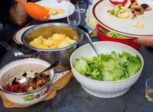 Tableau avec la nourriture végétarienne Images libres de droits