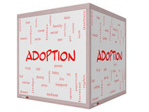 Tableau blanc de cube en concept 3D de nuage de Word d'adoption Photographie stock
