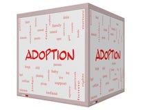 Tableau blanc de cube en concept 3D de nuage de Word d'adoption Photographie stock
