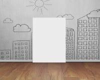 Tableau blanc vide avec le mur de griffonnages sur le plancher en bois Photos libres de droits