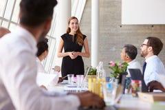 Tableau caucasien de salle de réunion de Leading Meeting At de femme d'affaires photos stock