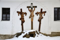 A tableau of crucifixs on Golgota Stock Photos