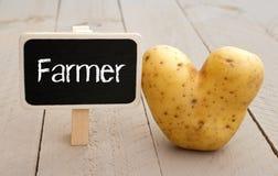 Tableau d'agriculteur avec la pomme de terre en forme de coeur Photo stock
