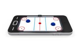 Tableau d'hockey d'air dans le téléphone portable Images stock