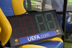Tableau d'indicateur au stade de football de Metalist Kharkiv Photos stock