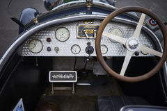 Tableau de bord d'Amilcar et volant Image stock