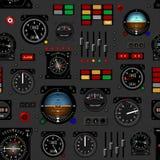 Tableau de bord d'avion Tableau de bord d'avions Modèle sans couture créatif, papier peint réaliste illustration de vecteur