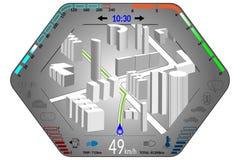 Tableau de bord de voiture avec la navigation de GPS Images stock