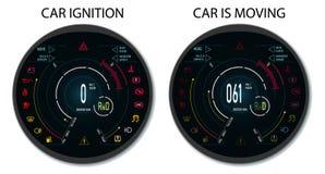 Tableau de bord des véhicules à moteur de Digital d'une voiture moderne Affichage graphique quand l'allumage est branché et quand illustration libre de droits