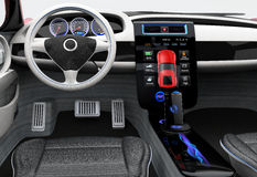 Tableau de bord futuriste de véhicule électrique et conception intérieure Photographie stock