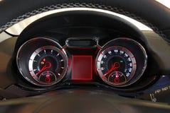 Tableau de bord lumineux par voiture Images libres de droits
