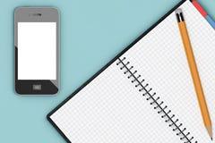 Tableau de bureau avec l'organisateur et le téléphone portable de bloc-notes renderi 3D Images libres de droits