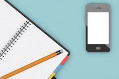 Tableau de bureau avec l'organisateur et le téléphone portable de bloc-notes renderi 3D Photographie stock