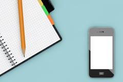 Tableau de bureau avec l'organisateur et le téléphone portable de bloc-notes renderi 3D Photographie stock libre de droits