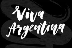 Tableau de calligraphie de lettrage de vecteur d'expression de Jour de la Déclaration d'Indépendance de Viva Argentina Photos stock
