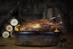 Tableau de Duck Roast At The Wooden de Noël avec les rondins et le pin en bois photos stock