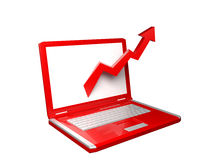 tableau de l'ordinateur portatif 3d avec la flèche rouge Photo libre de droits