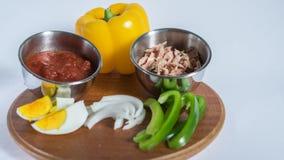Tableau des ingrédients pour la nourriture saine Image stock