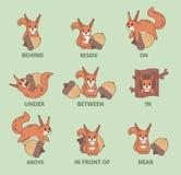 Tableau des prépositions de l'endroit avec le caractère animal drôle Matériel visuel éducatif pour des enfants Comique coloré illustration stock