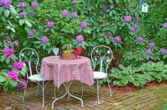 Tableau et chaises dans le jardin de rhododendron Photographie stock